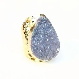 Genuine agate druzy gold-plated ring